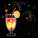Cocktail and fireworks Stock Photos
