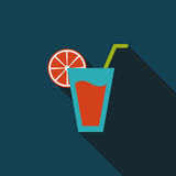 Cocktail flat icon with long shadow. Cartoon vector illustration stock illustration
