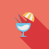 Cocktail flat icon with long shadow. Cartoon vector illustration royalty free illustration