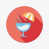 Cocktail flat icon with long shadow. Vector illustration file royalty free illustration