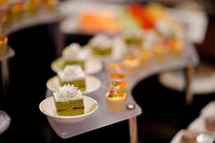 Cocktail food catering dessert wedding. Food catering cocktail party buffet dinner wedding Royalty Free Stock Image