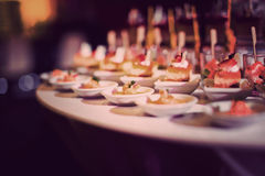 Cocktail food catering dessert wedding. Food catering cocktail party buffet dinner wedding royalty free stock images