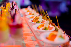 Cocktail food catering dessert wedding. Food catering cocktail party buffet dinner wedding royalty free stock photography