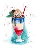 Cocktail frais d'aquarelle sur le fond blanc Photographie stock libre de droits