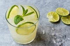 Cocktail frais de Schorle de chaux avec de la glace d'écrasement photographie stock libre de droits