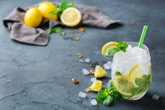 Cocktail freddo di mojito dell'alcool, bevanda della bevanda lunga, limonata Fotografia Stock Libera da Diritti