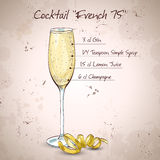 Cocktail French 75 Stock Images