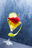 Cocktail with fresh lime and strawberry Royalty Free Stock Photos