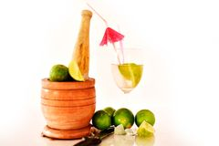 Cocktail with fresh limes Royalty Free Stock Images