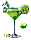Cocktail fresh mojito. Fresh mojito cocktail with lime and  mint. Watercolor hand drawn illustration Stock Image