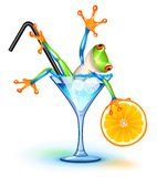 Cocktail Frog. Tree frog in Blue Lagoon cocktail stock illustration