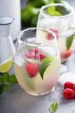 Cocktail froid d'été avec les chaux et la framboise Photos libres de droits