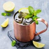 Cocktail froid de mules de Moscou avec de la bière de gingembre, vodka, chaux Fond en pierre gris photo libre de droits