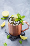 Cocktail froid de mules de Moscou avec de la bière de gingembre, vodka, chaux Fond en pierre gris image libre de droits