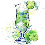 Cocktail fruit, ice and a splash. Hand drawn watercolor illustration stock illustration