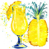 Cocktail fruit, ice and a splash. Hand drawn watercolor illustration Stock Photography