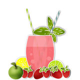 Cocktail fruits background. Glass of drink with tubule. illustration Stock Photo