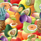 Cocktail fruits and berries seamless pattern Stock Image