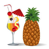Cocktail and fruits in goblet Stock Photos