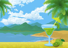 Cocktail, Fruits, Mountains and Sea Stock Photos