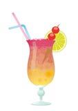 Cocktail-Geschlecht auf dem Strand mit Kirschkalk Stock Abbildung