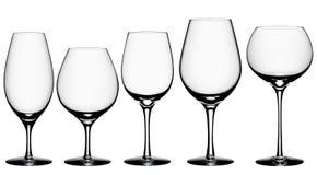 Cocktail-Glas-Sammlung lokalisiert auf Weiß + Beschneidungspfad Lizenzfreies Stockfoto
