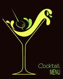 Cocktail. Glass with abstract splashes and olive. Design for drinks bar menu or  party invitation Stock Photography