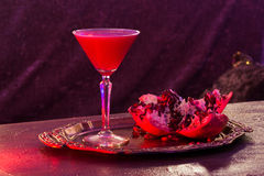 Cocktail, glass with alcohol. Fruits. Night club, bar Stock Image