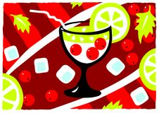 Cocktail glass. With a straw, red berries, ice cubes, pieces of lemon and mint leaves on an abstract background brightly Royalty Free Stock Image