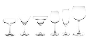 Cocktail glass collection most popular cocktail and wine glasses. Isolated on white background stock photo