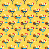 Cocktail glass and drink pattern Royalty Free Stock Image