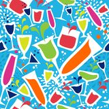 Cocktail glass drink seamless pattern Royalty Free Stock Photos