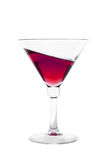 Cocktail glass filled with red inclined wine drink Royalty Free Stock Photos