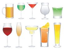Cocktail Glass Icons Royalty Free Stock Image