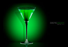 Cocktail Glass with Mint Liquor Drink. Template Design Royalty Free Stock Photos