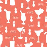 Cocktail glass seamless vector pattern. White alcohol drinking glasses on a coral background with Cheers lettering and pineapples. vector illustration