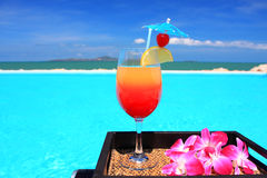 Cocktail. A glass of cocktail at the seaside Royalty Free Stock Images