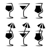 Cocktail glass silhouette with parasol Royalty Free Stock Image