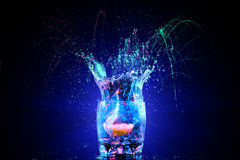 Cocktail in glass with splashes Royalty Free Stock Photo