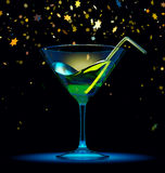Cocktail glass with stars confetti. On black background. Shiny, bright yellow light. 3d render stock illustration