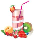 Drink from summer fruits and berries in a glass with a straw. Vector illustration royalty free illustration