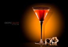 Cocktail Glass with Tangerine Liquor Drink. Template Design Royalty Free Stock Photography
