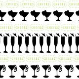 Cocktail glasses black silhouettes on a white background with Cheers lettering in green. Seamless vector pattern. Great for stock illustration