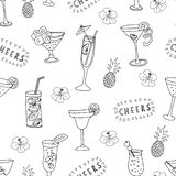 Cocktail glasses black on a white background with Cheers lettering, pineapples, and hibiscus flowers. Monochrom seamless vector royalty free illustration