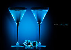 Cocktail Glasses with Blue Spirit Drink. Template Design Royalty Free Stock Images