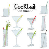 Cocktail glasses board set with ingredients for restaurants and bar business vector illustration Stock Image