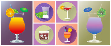 Cocktail glasses of different shapes icon set Stock Photo