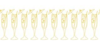 Cocktail glasses gold on white seamless vector border. Drinking glasses, champagne, cocktail flutes. Use for celebrations, stock illustration