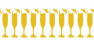 Cocktail glasses gold on white seamless vector border. Drinking glasses, champagne, cocktail flutes. Use for celebrations, vector illustration