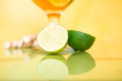 Cocktail glasses with lime Royalty Free Stock Photo